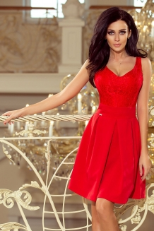 764eaabcd016ba Skater dress with lace upper part red