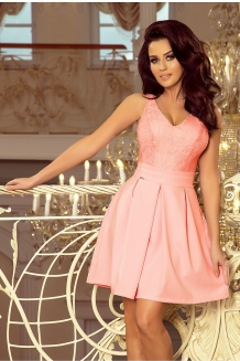 1c4341b8b52030 Skater dress with lace upper part pink
