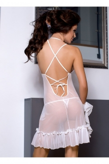 Transparant witte babydoll met ruches