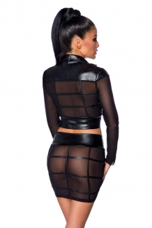 Wetlook en mesh gogo set in kooistructuur