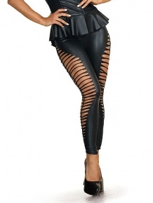 Wetlook leggings met slash cut-outs